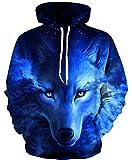 Ocean Plus Niño 3D Sudaderas con Capucha con Bolsillo Canguro Adolescente Sudadera Divertida Suéter Estampado Digital Hoodie (L (Altura: 125-135cm), Zorro Azul)