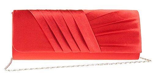 Eleoption Damen Faltenwurf Clutch klassische Abendtasche süße Handtasche Rot