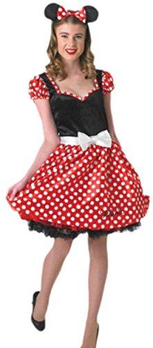 Faschingsfete Damen Minni Mouse Pünktchen Kostüm, L, Mehrfarbig