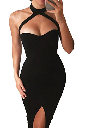 Simplee Apparel Women's Sexy Halter Neck Padded Backless Split Bodycon Pencil Midi Dress