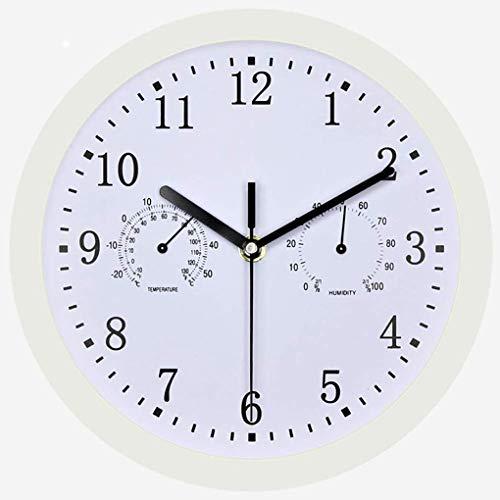 YYAW 3-In-1 Multi-Funktions-Wetterstation, Thermometer Und Luftfeuchtigkeit/Clock Kombination Silent-Precision-Bewegung Haus 10-Zoll-Wanduhr Dekoration,Weiß