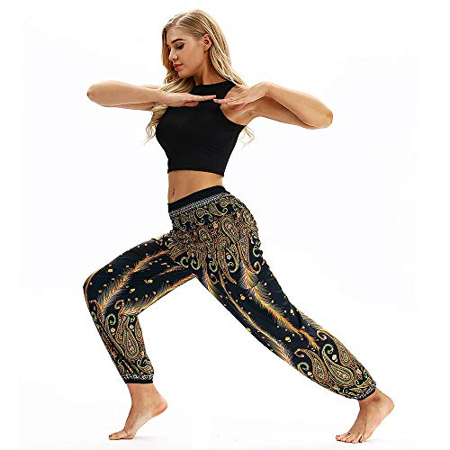 NINGSANJIN Damen Leggings Yogahose Jogginghose Sport Leggins Hose Fitness Traininghose Sporthose Lose Laufhose Elastische Strumpfhosen Orientalische Haremshose Aladin Pant (Gelb,Medium)