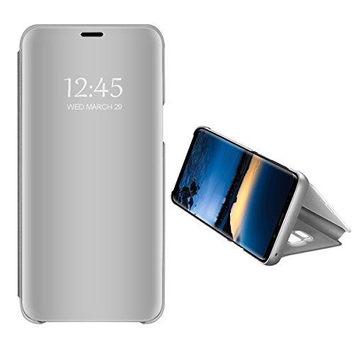 Apple iPhone X Spiegel Schutzhülle Flip Handy Case Tasche mit Standfunktion Business Serie Hart Case Cover für iPhone X/iPhone 10/iPhone Ten (Silber, Apple iPhone X) Tolle Iphone Cover