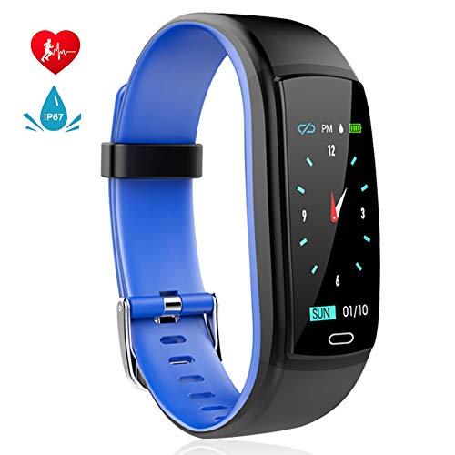 MINLUK Pulsera de Actividad Inteligente, Pulsera Bluetooth Impermeable IP67 con Pantalla Color,para Android y iOS (Azul)