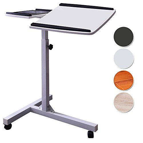 SixBros. Laptoptisch Projektionstisch Weiß - LT-001A/2084 - MDF Weiß - Gestell Metall Weiß