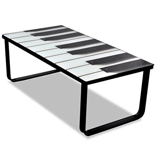 Mesa Baja de Cristal con diseño de Piano. Material: Vidrio ...