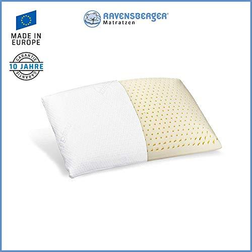 Ravensberger Matratzen® Natur Latex-Kissen 50% Naturkautschuk| Made IN Europe - 3 Jahre Garantie | MEDICORE silverline®-Bezug 40 x 60 cm -