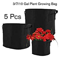 Jspoir Melodiz 5pcs Black Fabric Grow Pots Breathable Bag Tree planting bag Seedling pot (3 Gallon)