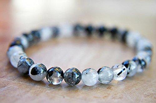 Quarzo rutilato perline braccialetto 6mm tormalina nera con quarzo trasparente rutilations- braccialetto elastico