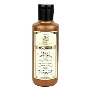 Khadi Herbal Henaa Tulsi Extra Conditioning Shampoo SLS and Paraben Free, 210ml