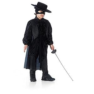 Carnival Juguetes 68501 - traje de hombre de la máscara de Negro con la máscara, sombrero y la espada, 6-7 años