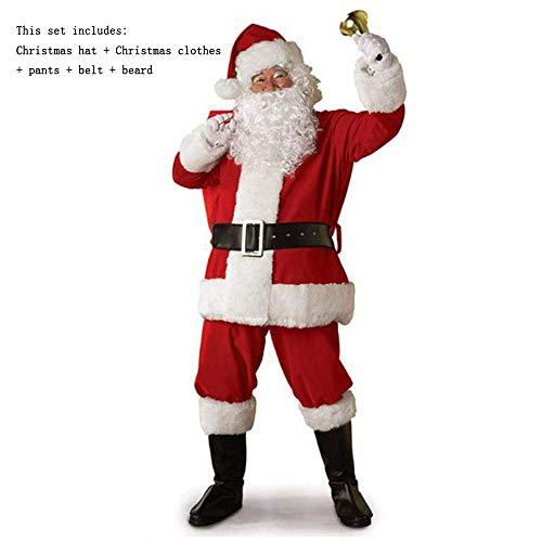 ostüm Weihnachten Kostüm Weihnachtsmann Kostümset beinhaltet Weihnachten Hut Unterwäsche Gürtel Bart ()