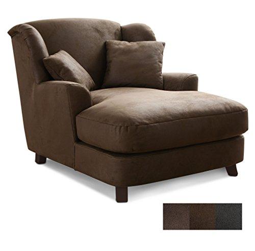 CAVADORE XXL-Sessel Assado/Großer Polstersessel in braun mit Holzfüßen, großer Sitzfläche, Polsterung und 2 Weichen Zierkissen / 109x104x145 (BxHxT)