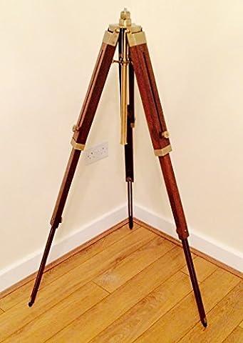 Holz Stativ Stehlampe stehen, mit Antik Messing Optik Höhenverstellbar bis