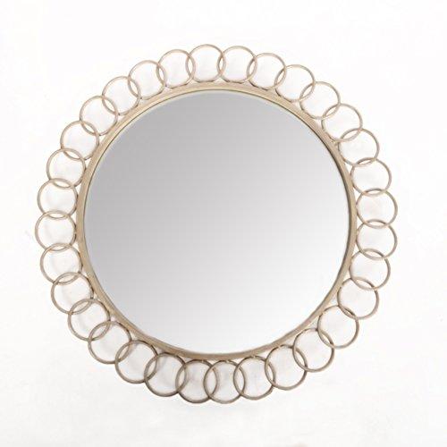 Antyki24 MirrorOutlet Miroir Mural Rond en métal Style Shabby Chic Gris 80 cm