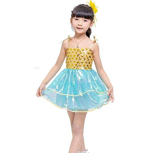 Wgwioo Kinder Kleider Girls 'Collective Dance Wettkampf Performance Kostüm Chor Kleidung Kleidung Cheerleading Gruppe Team, Yellow, 140Cm (Irish Dance Kleid Kostüm)
