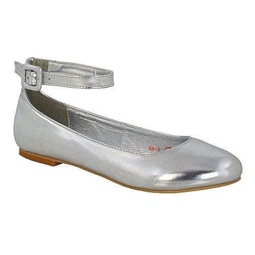 ESSEX GLAM Scarpa Donna Sintetico Ballerina Cinturino Caviglia Tacco Piatto Sposa Argento metallizzato