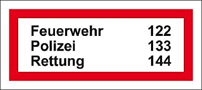 LEMAX® Brandschutzzeichen Notfall-Rufnummern,praxisb.,Folie,selbstkl.,45x20mm,12/Bogen