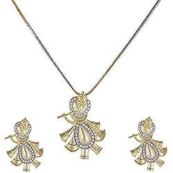Nakit Fancy Traditional A.D (American Diamond) Stone Studded Radha Krishna Pendant Set/Necklace/Neck Piece for Women/Ladies/Female/Girls, Casualwear_(100ADP01)