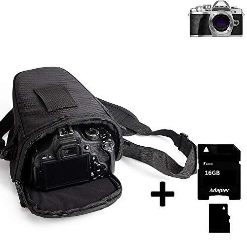 K-S-Trade® Schultertasche Für Olympus OM-D E-M10 Mark III Colt Kameratasche Für Systemkameras DSLR DSLM SLR, Bridge Etc, 16GB Speicherkarte Schutzhülle Bag Zubehörtasche Gürteltasche