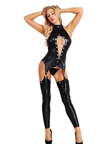 dPois Frauen Wetlook Dessous Set Body Clubwear Lack Leder Overall G-String Erotik Unterwäsche Sexy Lingerie Bodystocking Beinstulpen Kostüm Catsuit Reizwäsche Schwarz XXX-Large