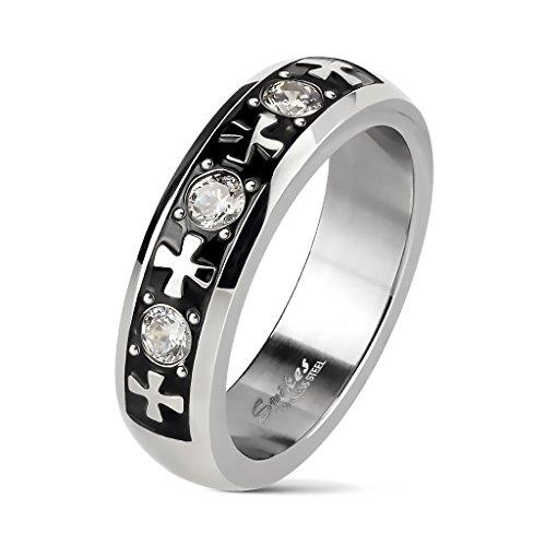 BlackAmazement Unisex Ring Edelstahl Iron Celtic Cross Kelten Kreuz Triple Zirkonia (52 (16.6))
