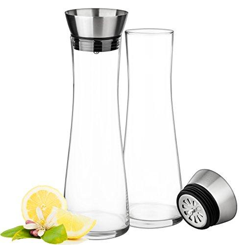 Glaskaraffe 1 Liter aus handgefertigtem Glas   mit hochwertigem Edelstahl-Deckel   Spülmaschinenfest   Integriertes Sieb für Zitronenscheiben, Eiswürfel etc.   auch für Getränke mit Kohlensäure