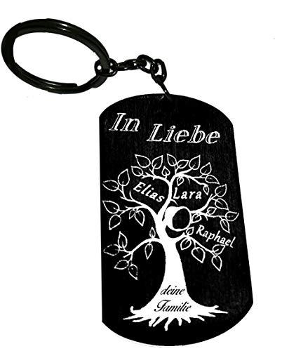 Schmuck-Depot Schlüsselanhänger Edelstahl PVD Beschichtet schwarz (Edelstahl) mit Gravur Symbol oder Text (Einseitig)