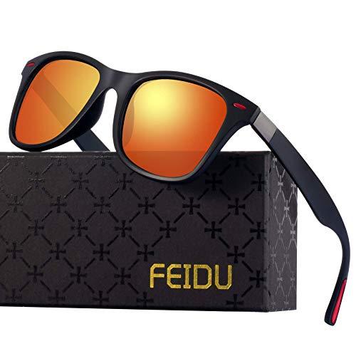 Polarized Sonnenbrillen Herren Vintage Style Sonnenbrillen Damen-Sport im Freien Golf Radfahren Angeln Wandern FD2150 (Orange rot, 60)