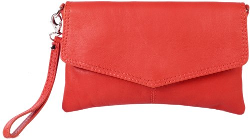 Emmy accessoires Sarandon Clutch/Abendtasche Echt-Leder -Made in Italy- (One Size, Rot)