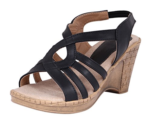 RIGHT STEPS Women's Black Leather Fashion Sandals - 8 UK