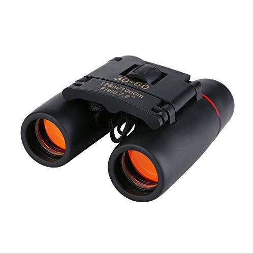 Wyjs Telescopio Zoom Telescopio 30X60 Binoculares Plegables Con Visión Nocturna Con POCA Luz para Observación De Aves Al Aire Libre Viajar Caza Camping Negro