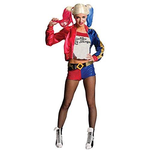 Suicide Squad Disfraz de Harley Quinn señora 4 Piezas Rojo Azul - M