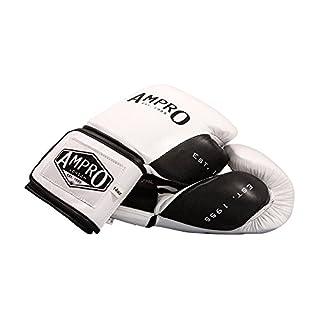 Ampro Madison MKII Velcro Sparring Gloves - White/Black (10oz)