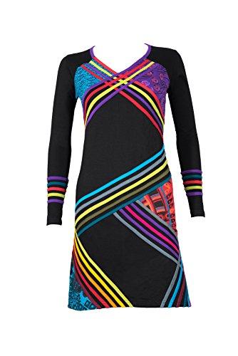 m Kleid mit Zig Zag Muster und bunten Patchwork Prints - Hippie Chic - SOMA (L/XL) (Ausgefallenes Kleid Hippie)