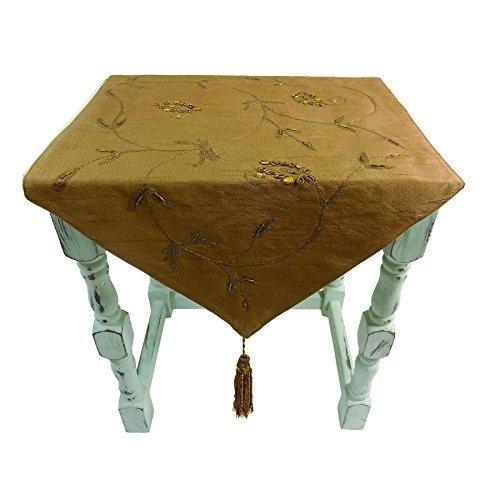 luxe Brodé bronze épices perlé Gland table Tapis 33 x 85cm