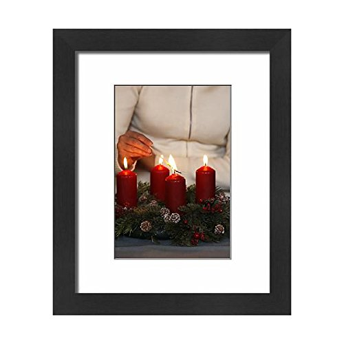 Framed-10x8-Print-of-Woman-lighting-advent-candles-Saint-Nicolas-de-Veroce-Haute-Savoie-4261251