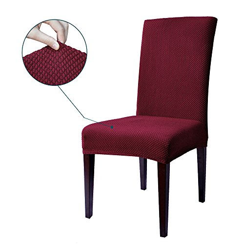 Subrtex Spandex Stretch Jacquard Dining Room Chair Slipcovers (4, Wine Jacquard)
