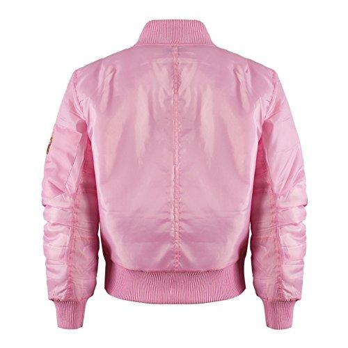 Kinder Mädchen Jungen Kinder Bomber MA1 Stil Jacke Piloten Biker Taschen Mantel Jahre – Rosa, 158 - 3
