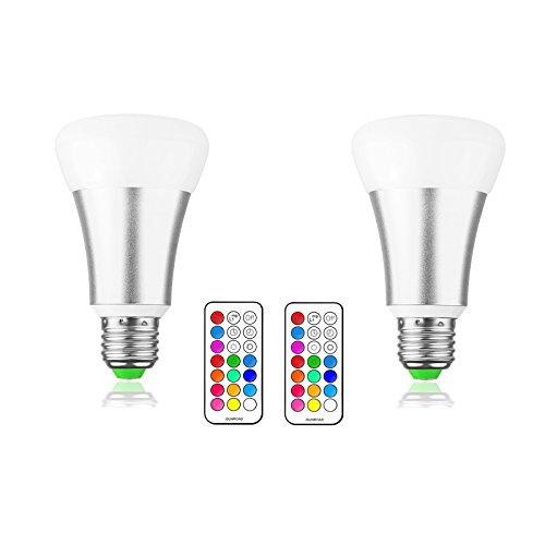 LemonBest® 10W E27 RGBW LED ampoule à changement de couleur avec télécommande 21 touches, 12 couleurs multiples Dimmable éclairage d'ambiance lampe, AC 85-265V, Pack de 2X [Classe énergétique A]