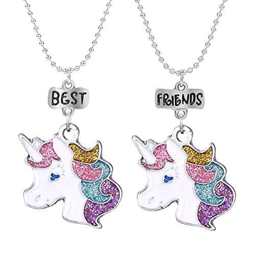 Mejores Amigos Unicornio Colorido Amistad Collares para niños Joyas BFF Set para 2 Niño Chicas