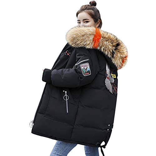 Minetom Damen Winterjacke Lang Schwarz Parka Damen Fell Jacke Winter Mantel Daunenjacke Outwear Mit Fellkapuze Schwarz 02 DE 42 (Damen Fell Hooded Down Coat)