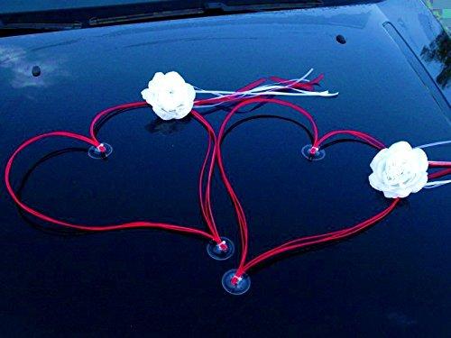 DEKORIERT RATAN HERZEN Auto Schmuck Braut Paar Rose Deko Dekoration Autoschmuck Hochzeit Car Auto Wedding Deko (Weiß / Rot) (Dekoriert Hochzeit)