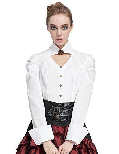 SCARLET DARKNESS Damen Victorian Button Bluse Renaissance Langarmhemd Elfenbein Größe S