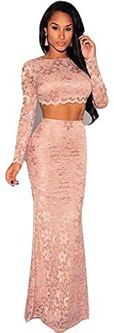 Ladies 2 Piece Apricot Flower Lace Long Skirt Set Dress