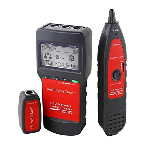 Noyafa NF-8200 LAN RJ45-Draht-Kabeltester Ethernet-Netzwerk-Draht-Verfolger-Kabellänge Tester mit Hintergrundbeleuchtung LCD-Anzeige (rot und schwarz) (Draht Netzwerk)