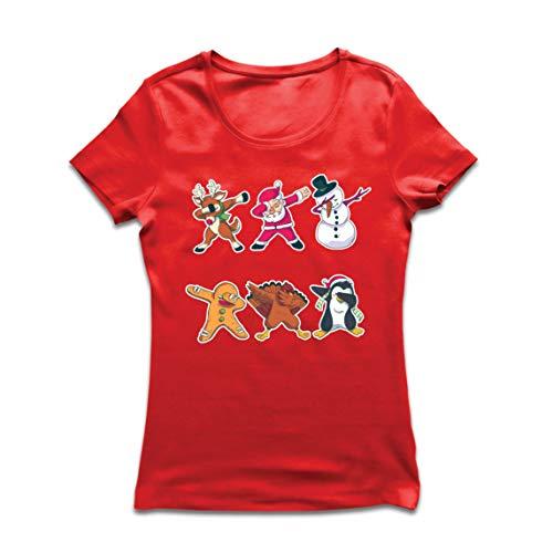 lepni.me Frauen T-Shirt Weihnachts Dab - Dabbing Weihnachtsmann-Rotwild-Schneemann (Large Rot Mehrfarben) -