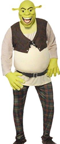 änner Kostüm Shrek mit Top, Hose, Handschuhen und Maske, L, Grün-braun ()