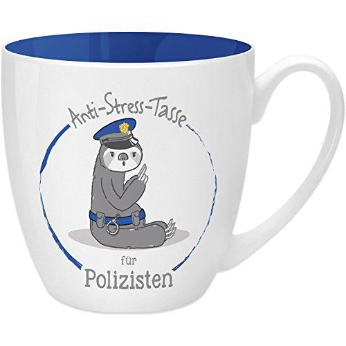 i-Stress Tasse für Polizisten, 45 cl, Geschenk, New Bone China, Blau, 9.5 cm ()