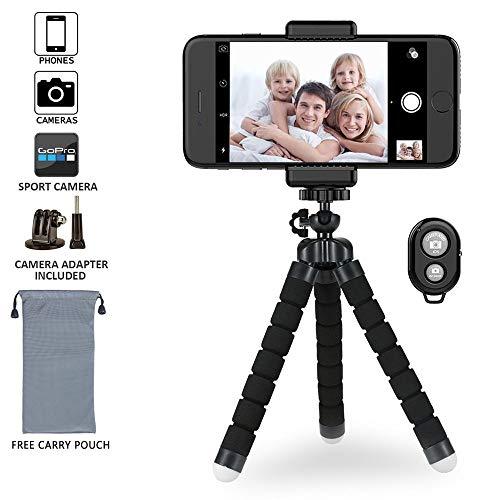 CGY Handy Stativ Kamera Stativ Aluminium-Leichtbau Smartphone Stativ für iPhone/Samsung/Huawei GoPro und Kamera mit Bluetooth Fernbedienung Tragetasche und GoPro-Halterung - Großes Gopro Tragetasche